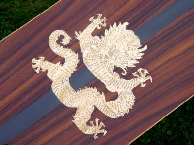 Dragon's Den. Custom Avodire inlay in Rosewood & Carbon