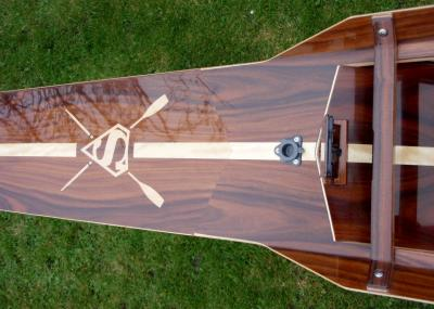 Super Boat. Rosewood and Avodire with custom inlay